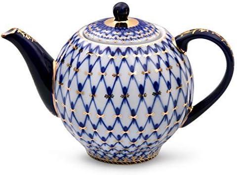 Blue Imperial porcelain teapot Russian porcelain Hand-painted Soviet porcelain Vintage porcelain cobalt ornament teapot Lomonosov