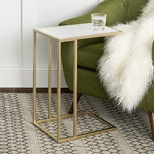 WE Furniture Modern Side End Accent C Table Living Room, 20 Inch, White Marble, Gold (Over Sofa Mirror)