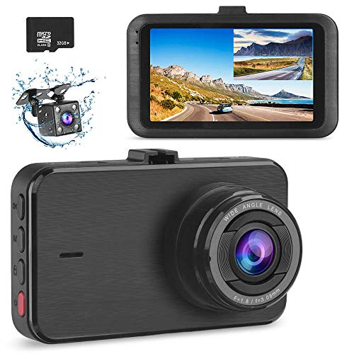 Dash Cam Front and Rear with 32GB Card SSONTONG Dashboard Camera Dual FHD 1080P DVR Car Driving Recorder 3 Inches IPS Screen 170°Wide Angle HDR Night Vision Parking Mode Motion Detection