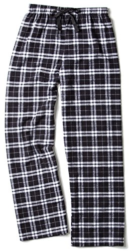 (Boxercraft Men's Elastic Waist Flannel Pants, Black/White, Small)