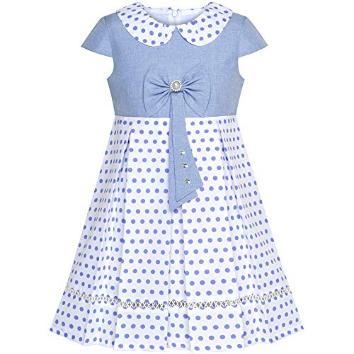 Sunny Fashion JT33 Girls Dress Polka Dot School Bow Tie Pearl Cap Sleeve Size 6