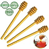 Wooden Honey Dipper Sticks by BIBI HONEY – 6,5 Inch Wooden Syrup Dippers – Honeycomb Sticks Perfect for Drizzling Honey | Maple Syrup | Chocolate | Caramel - Honey Spoons – 4 Pack