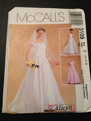 Mccalls Bridesmaid Patterns - McCall's 3109 Sewing Pattern, Misses' Petite Bridal Wedding Gown and Bridesmaid Dress, Size D (12-14-16)
