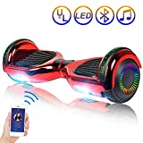 Hoverboard Self Balancing Scooter 6.5' Two-Wheel Self Balancing Hoverboard with Bluetooth Speaker and LED Lights Electric Scooter for Adult Kids Gift UL 2272 Certified Plating Dazzle Series - Red