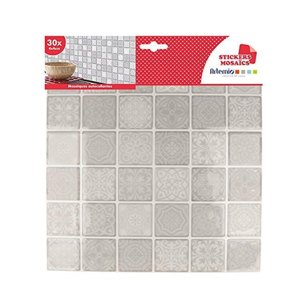 Artemio-foglio-mosaico-grigie-autoadesive-Multicolore-30-quadretti-di-4-x-4-cm