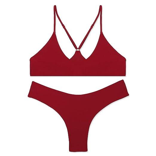 6eaced3dd8e51 Amazon.com: stripsky Brazilian Bottom Bralette Bikini Set, Non-Pad Cross  Back Swimsuit for Women: Clothing