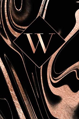 W: Letter W Journal, Rose Gold Swirls On Black, Personalized Notebook Monogram Initial, 6 x ()