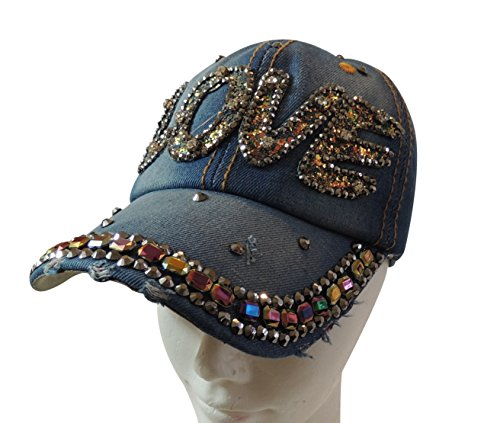 (Women's Baseball Cap, Denim, Rhinestone Bling, Adjustable 12 Styles (Love, Medium Denim))