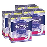 Always Xtra Protection Dailies, Extra Long Feminine Panty Liners, Unscented, 92 Count - Pack of 4 (368 Total Count)