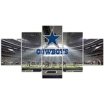 Dallas Cowboys Stadium Wall Art Pictures Wall Decor 5 Panel Canvas Prints NFL Sports Football Poster Frame Painting Dining Room Home Bedroom Decorations Artwork Ready to Hang(60''Wx32''H)