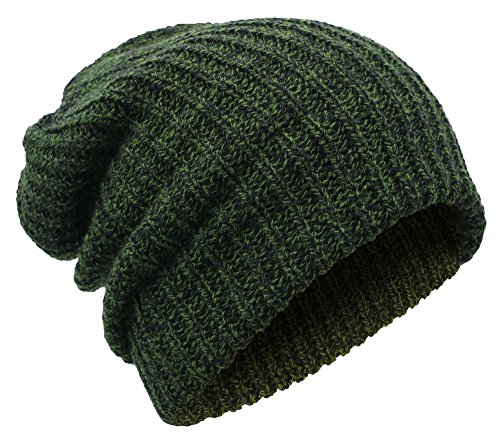 Livingston Winter Thick Knit Slouchy Fit Outdoors Mens Ski Beanie Hat, Green Green Day Black Beanie