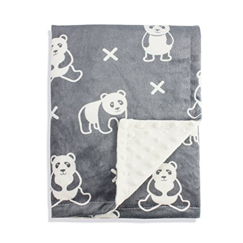 Boritar Baby Receiving Blanket Super Soft Minky with Double Layer Dotted Backing, Cute Panda Printed 30 x 40 Inch]()