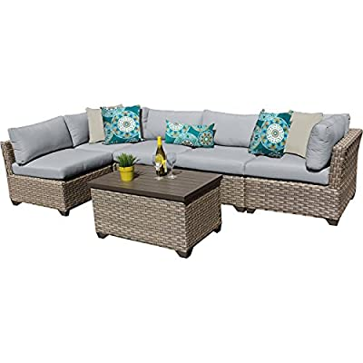 "TK Classics MONTEREY-06a-GREY Monterey 6 Piece Outdoor Wicker Patio Furniture Set, Grey - FULLY ASSEMBLED - Seating area is ready to use and enjoy with family and friends Imported from China 32"" x 25"" x 32"" - patio-furniture, patio, conversation-sets - 518f8oJhSeL. SS400  -"
