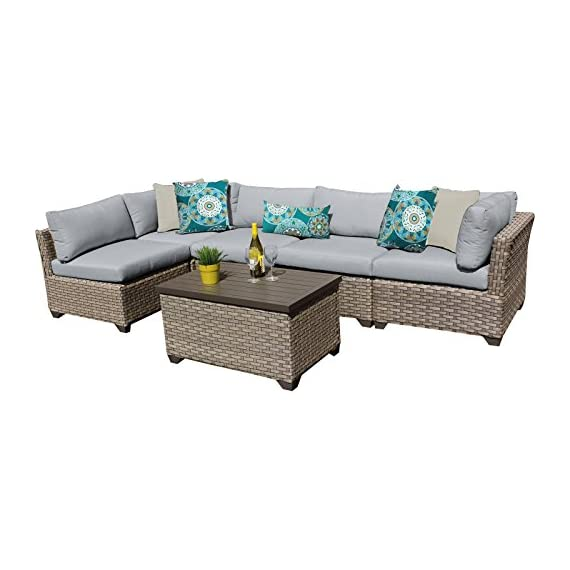 "TK Classics MONTEREY-06a-GREY Monterey 6 Piece Outdoor Wicker Patio Furniture Set, Grey - FULLY ASSEMBLED - Seating area is ready to use and enjoy with family and friends Imported from China 32"" x 25"" x 32"" - patio-furniture, patio, conversation-sets - 518f8oJhSeL. SS570  -"