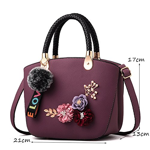 Color Three Embroidery Messenger Female Bag Exquisite DEI Black Simple Dimensional And Bag Purple Shoulder Bag Wild Small Bag QI Handbag Fashion Y8vxn5wvU