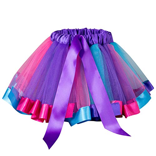 Sunhusing Adorable Little Girls Petticoat Rainbow Skirt Mesh Bowknot Tutu Pettiskirt Colorful Mini Skirt