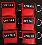 20 CPR MASK WITH KEYCHAIN CPR FACE SHIELD AED RED POUCH CPR 30:2