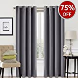 dark grey curtains living room EASELAND Blackout Curtains 2 Panels Set Room Darkening Drapes Thermal Insulated Solid Grommets Window Treatment Pair for Bedroom, Nursery, Living Room,W52xL95 inch,Dark Grey
