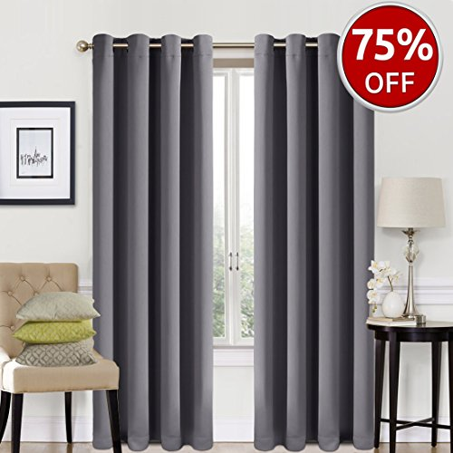 Blackout Curtains 2 Panels Set Room Darkening Drapes Thermal Insulated Solid Grommets Window Treatment Pair for Bedroom, Nursery, Living Room,W52xL84 inch,Dark (Nursery Bedroom Sets)