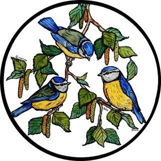 Winged Heart presented by Celtic Glass Designs Statique fenêtre s\'accroche dans Une Conception de mésanges Bleues
