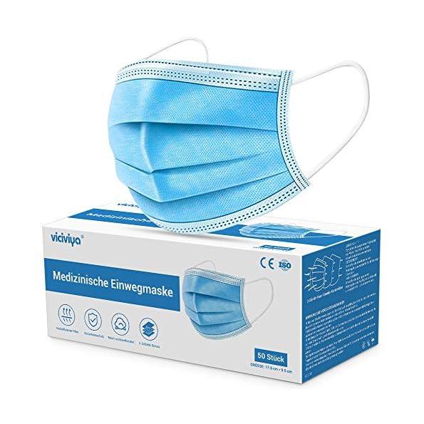 Medizinische-Gesichtsmaske-VICIVIYA-Mund-Nasen-Masken-50-Stck-3-lagig-Einweg-Masken-Einweg-Ohrschlaufen-Mundschutz-Blau