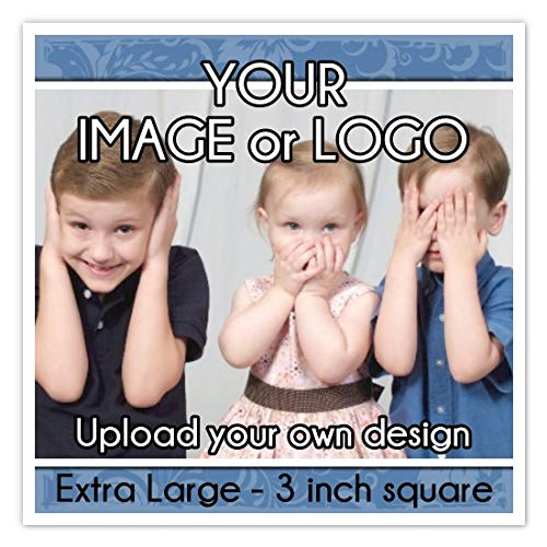 Extra Large Custom Logo Stickers, 3 Inch Square Stickers, Upload Your Logo or Image (60 Count) by Generic