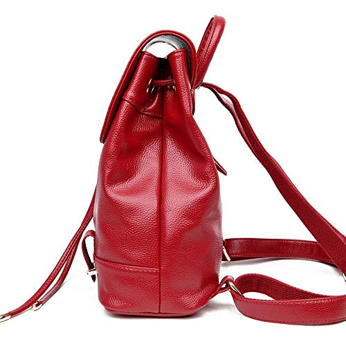 Red Dos PU De Sac wine du Sac shuangjian À À Dos Version Dos À Sac Femme Lumineux Sac Coréenne À Dos Sac Nouveau Lycée Loisirs Dames Voyage De wqFwfIxE