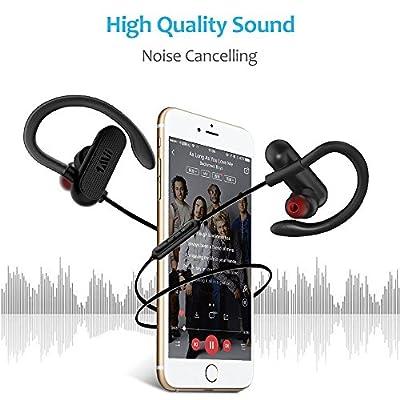 1Mii Bluetooth Headphones w/12 Hours Battery, Magnetic headphones, Sports Earphones w/Mic - Waterproof aptX HD Stereo Sweatproof Earbuds for Gym Running Workout,Noise Cancelling