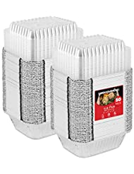 """50 Pack Disposable Takeout Containers with Clear Lids – 1 Lb Capacity Aluminum Foil To Go Food Containers – Secure Lid to Lock in Freshness – Eco Friendly Recyclable Aluminum Pans – 4"""" Inch Drip Pans"""