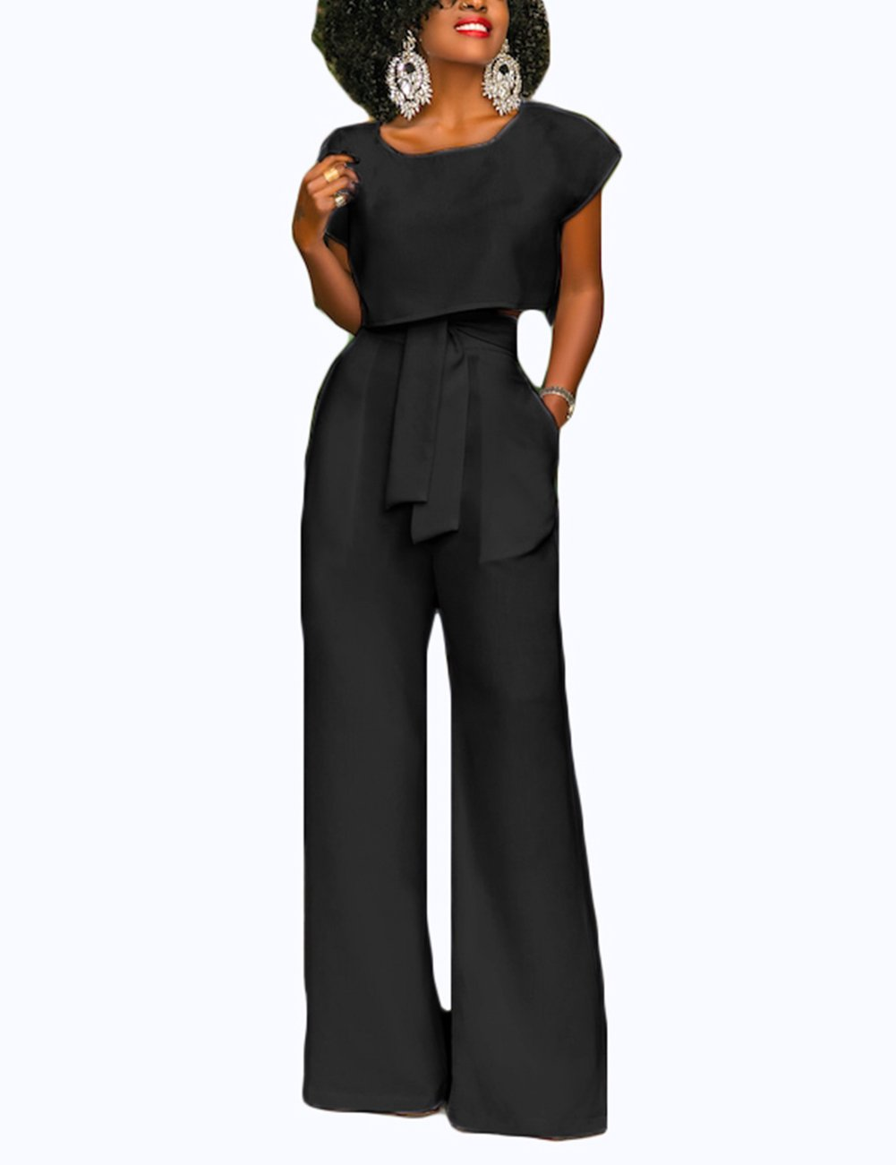 CINDYLOVER Women's Pantsuits Long Fitted Romper Pants with Pocket Day Suit Black L