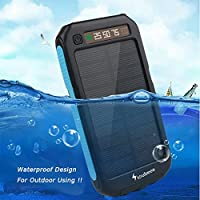 Nioubeee LDP-03 SOS Colorful Light/Waterproof/Dustproof/LED Power Display Solar Charger/Solar Power Bank 10000MAH for Cell Phone Charge ( Black with Blue)