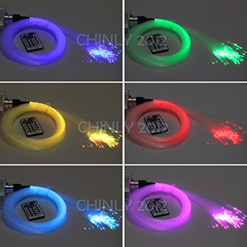 10W RGBW remote Twinkle LED Fiber Optic Star Ceiling Lights Kit 0.75mm(50pcs6.5ft+50pcs9.8ft+50pcs13.1ft+50pcs16.4ft)+crystal