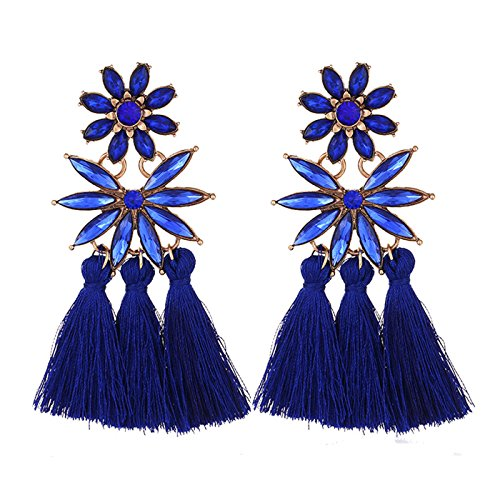 Women's Bohemian Statement Long Drop Tassel Earrings, Crystal Dangle Stud Earrings (Deep (Weiss Blue Rhinestone)