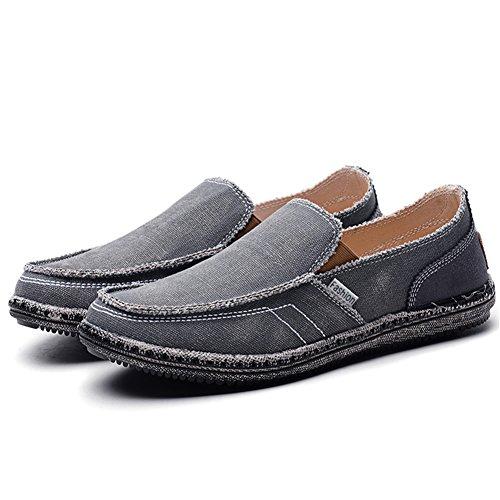 TIOSEBON Men's Canvas Slip-on Loafers Vintage Flat Boat Leisure Shoes 7.5 US Gray