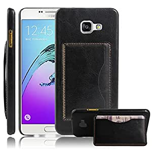 Casefashion® Funda Para Samsung Galaxy A7 SM-A710 (2016 Version) Stand Feature Hard Back Case Flip Cover Skin Protector with Card Slots (Black)