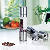 Magicfly Salt & Pepper Grinder Set - Stainless Steel - Clear Acrylic Body - 2 in 1 Dual Action