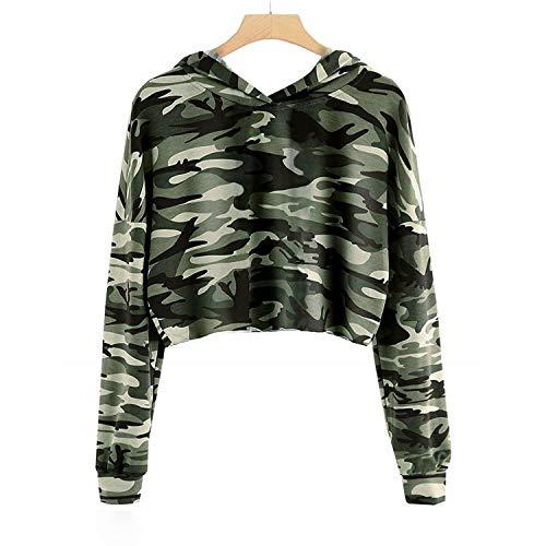 Imily Bela Kids Crop Tops Girls Hoodies Cute Plaid Long Sleeve Fashion Sweatshirts (10-12 Years/Height:55in, Z1-Camo) ()