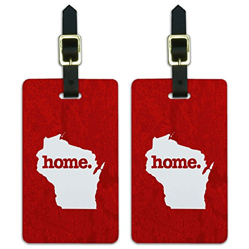 State Luggage Tag (Wisconsin WI Home State Luggage Suitcase ID Tags Set of 2 - Textured Red)
