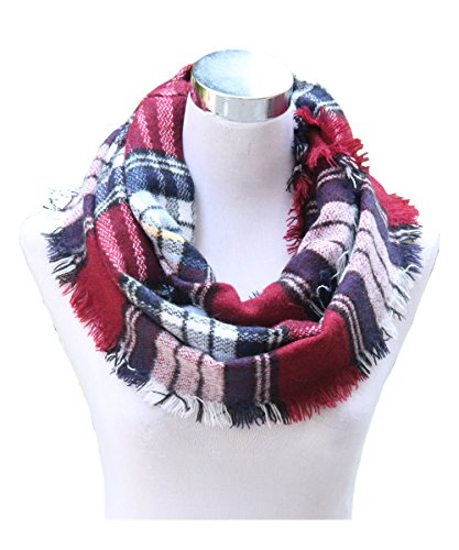 Lucky Leaf Women Girls Cozy Warm Thick Tartan Check Pattern Circle Loop Scarves (Burgundy Plaid)