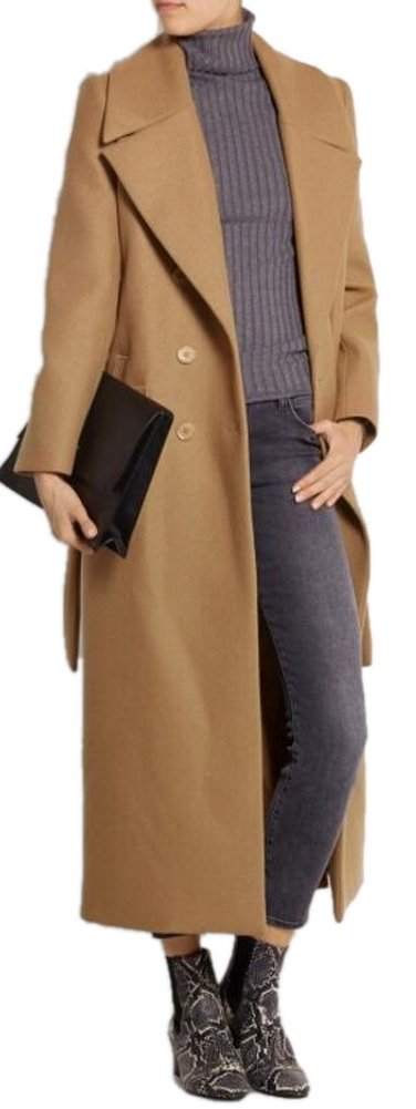 Women's Camel Lapel Double Breasted Full-Length Slim Trench Wool Coat With Belt XL