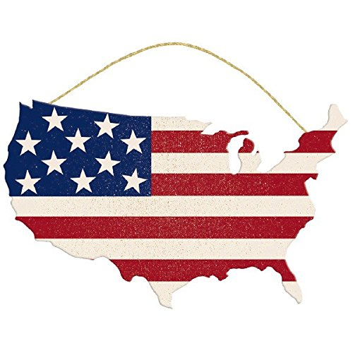 American Fourth of July Party USA Flag Hanging Sign Decoration, Fiberboard, 11