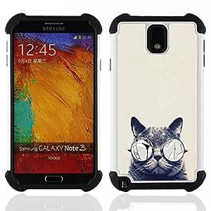 /Skull Market/ - Cat Cute Kitty For Samsung Galaxy Note3 N9000 N9008V N9009 - 3in1 h????brido prueba de choques de impacto resistente goma Combo pesada cubierta de la caja protec -