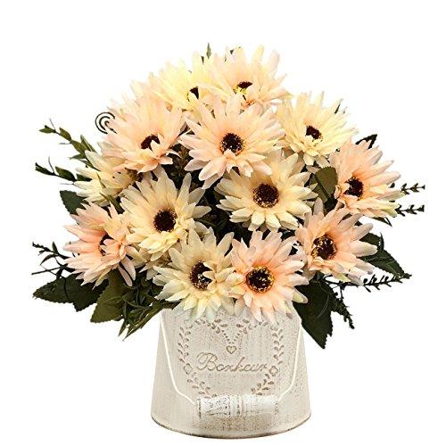 (Artificial Chrysanthemum Flowers, Vintage Silk Herbaceous Daisy Fake Sunflowers Bouquet Home Bridal Wedding Hotel Office Party Garden Centerpieces Arrangements Simulation Decoration Orange 2 PCS)