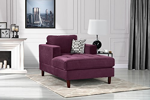 DIVANO ROMA FURNITURE Mid Century Modern Velvet Fabric Living Room Chaise Lounge (Purple) Double Arm Chaise Lounge