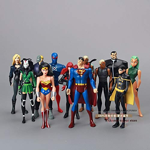 VIET FG Super Heros DC Universe Young Justice Superman Robin Wonder Woman Micron Aqualad Action Figures Toys 12pcs/Set- Gift for Your Kids -