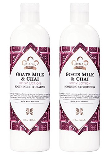 - Nubian Heritage Goat's Milk & Chai Body Lotion (Pack of 2) with Shea Butter, Cocoa Seed Butter, Olive Oil, Aloe Vera Juice, Sweet Almond Oil, Jojoba Seed Oil and Goat Milk Extract, 13 oz