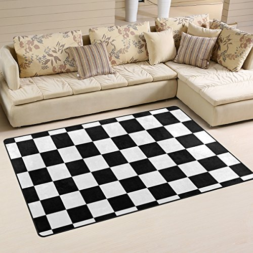 DEYYA Custom Checkered Non-Slip Area Rugs Pad Cover 60 x 39 Inch, Black White Checkered Pattern Throw Rugs Carpet Modern Carpet for Home Dining Room Playroom Living Room Decoration (Pattern White Black Checkered)