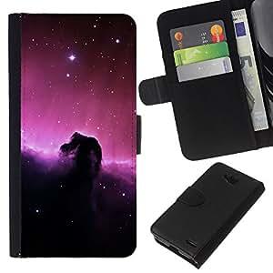 KLONGSHOP // Tirón de la caja Cartera de cuero con ranuras para tarjetas - Universo Estrellas púrpura Espacio Luz Cielo Cielo - LG OPTIMUS L90 //
