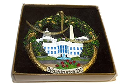 Green Christmas Ornament / Washington DC Monuments Ceramic - Great Stocking Stuffer!