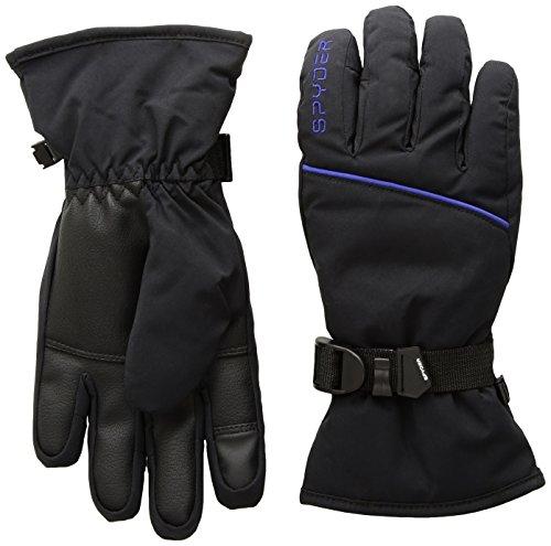Spyder Women's Snow Day Ski Glove, Black/Blue My Mind, Large